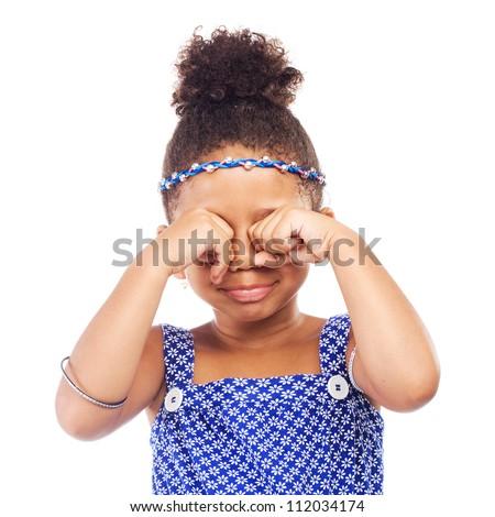 Little crying girl on white background - stock photo