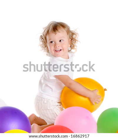 Little Curly-headed Boy Surrounds The Colourful Balloons