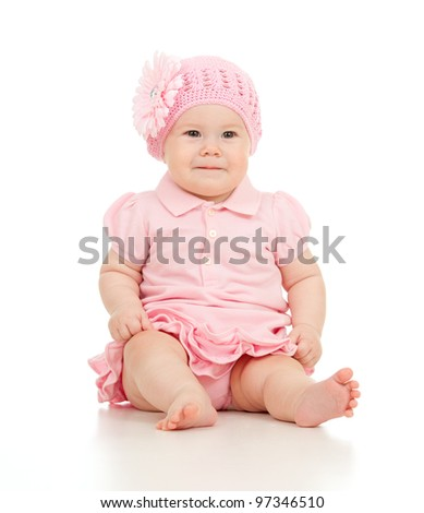 Little cute baby-girl  in pink dress isolated