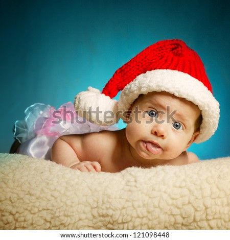 little cute baby with santa hat - stock photo