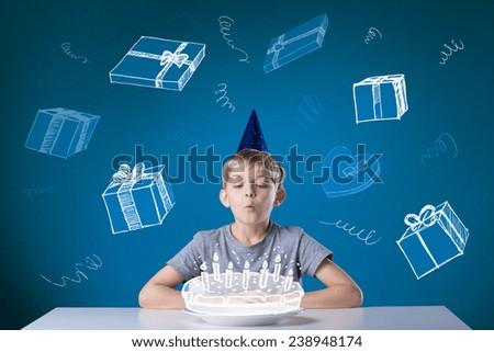 Little cute boy having a happy birthday - stock photo