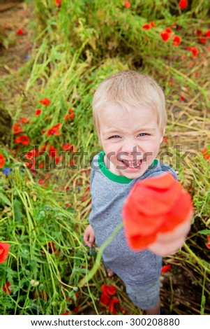 Little cute boy in field with red poppies and blue sky. Shallow depth of field - stock photo