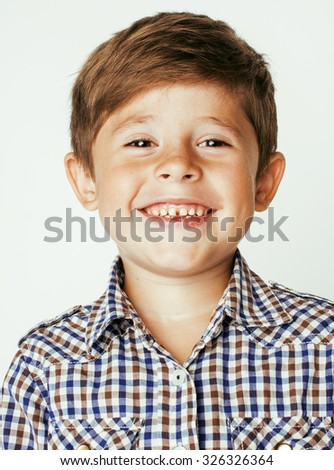 little cute boy on white background gesture smiling close up casual kid - stock photo