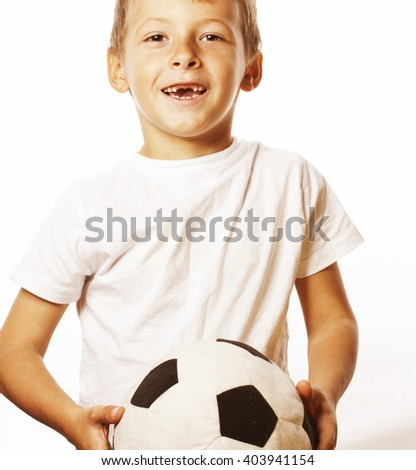 little cute boy playing football ball isolated on white close up catching moove - stock photo