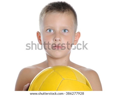 little cute boy playing football ball isolated on white close up on white catching - stock photo