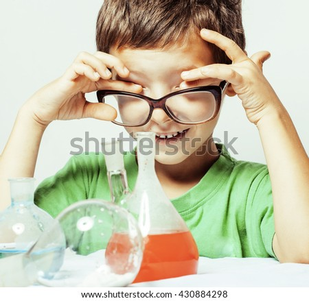little cute boy with medicine glass isolated wearing glasses smiling real genious scientist - stock photo