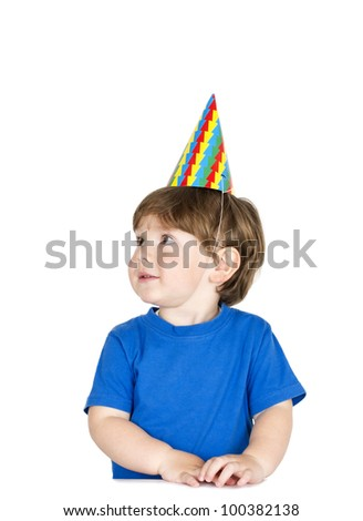 Little, cute boy with party-hat. Isolated on white.