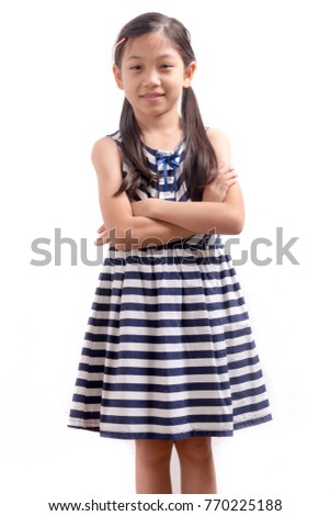 Little cute children girl very happy and cheeky on white background