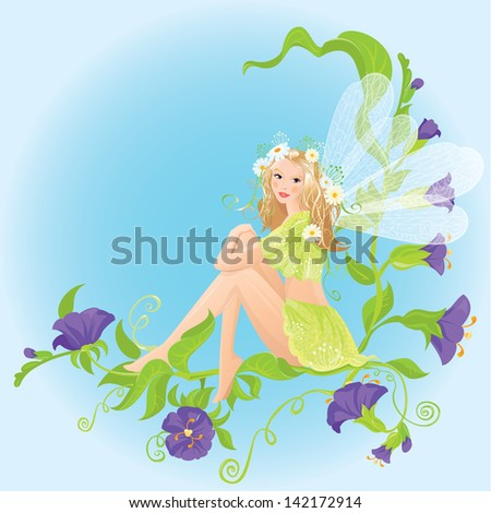 Little cute forest fairy sitting on beautiful wild flowers. Raster version - stock photo