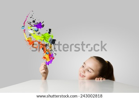 Little cute girl and flying above icons - stock photo