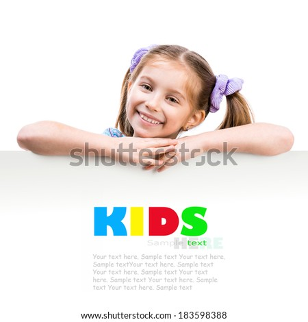 little cute  girl behind a white board with space for text - stock photo