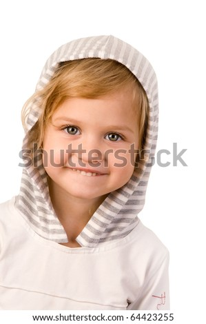 Little cute girl close-up on white background - stock photo