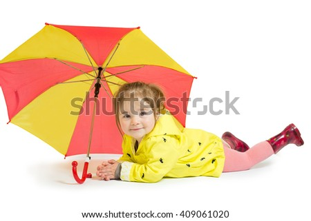 Little cute girl in the yellow raincoat and umbrella isolated on the white background - stock photo