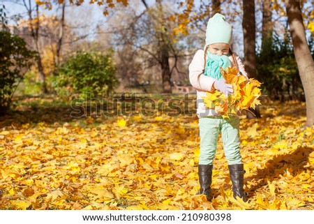 Little cute girl on the autumn meadow in a sunny fall day - stock photo