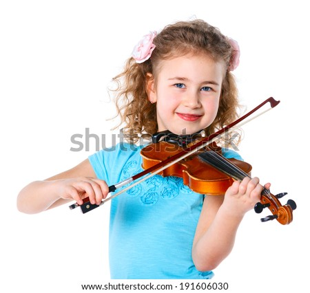 Little cute girl playing the violin isolated on white. - stock photo