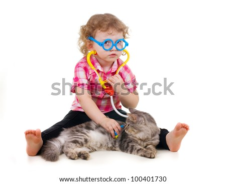 little cute girl plays doctor on white background - stock photo