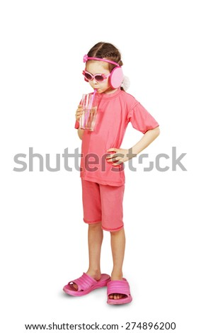 Little cute girl wearing pink clothes is drinking water - stock photo