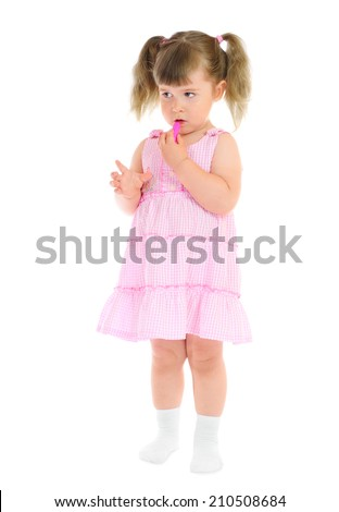 Little cute girl with lipstick isolated - stock photo