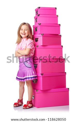 Little cute girl with lots of boxes - stock photo