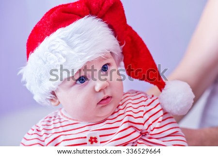 little cute girl with santa hat
