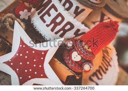 Little cute gnomes  on old books. christmas background - stock photo