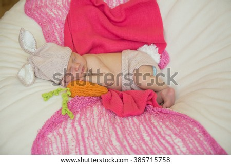 little cute newborn baby dressed like easter bunny - stock photo