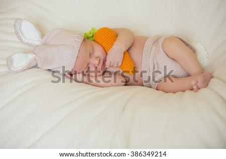 little cute newborn baby dressed like easter bunny - stock photo