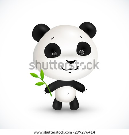 Little cute panda bear with green branch and leaves