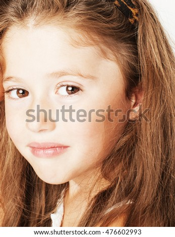 little cute spring girl in fancy dress isolated on white background close up, lifestyle happy smiling people concept