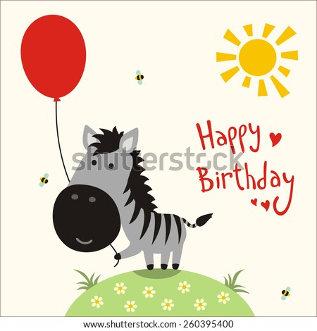 little cute zebra - happy birthday card - stock photo