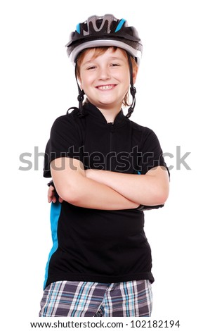 Little cyclist with crossed hands - stock photo