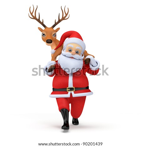 little 3d santa carrying one of his reindeers - stock photo