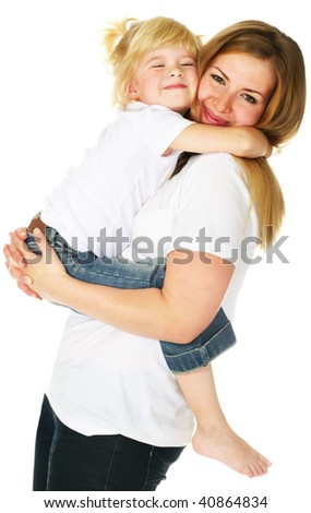 little daughter hugging her mother - stock photo