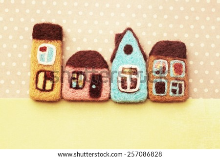little decorative houses, your text here, place for your advertisement - stock photo