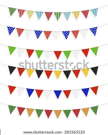 Little different flags, white background - stock photo