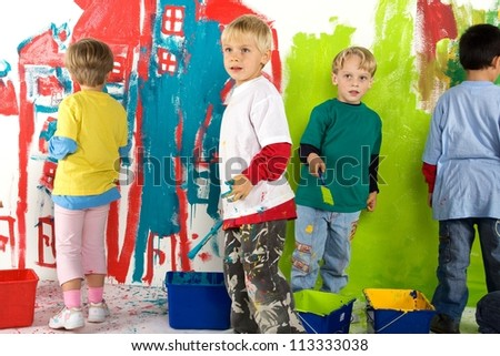 Little dirty painters - stock photo
