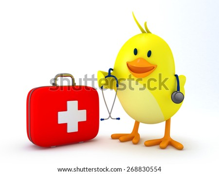 Little doctor chick with first aid kit and stethoscope on white - 3D render - stock photo