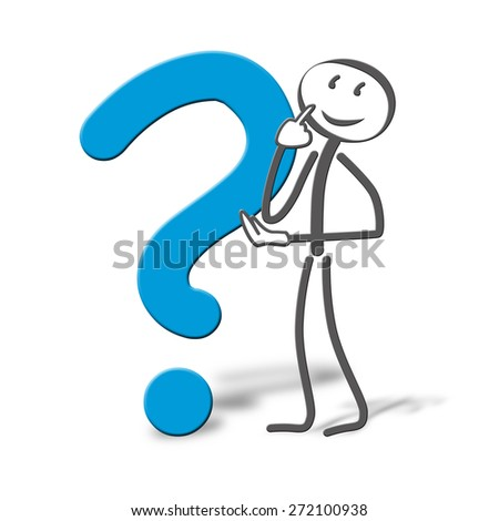 Little drawn man with question ark - stock photo