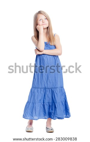 Little dreamer. Full length of thoughtful pretty little girl holding hand on chin. Isolated on white. - stock photo