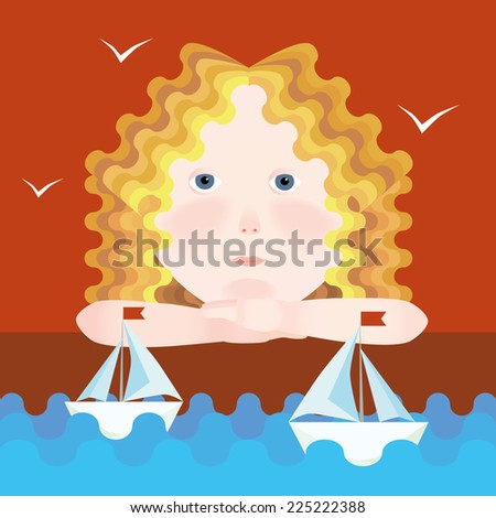 Little dreamy girl and sailboats - stock photo