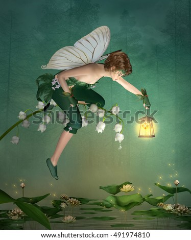 Little elf with lantern sits on a lily of the valley - 3D illustration
