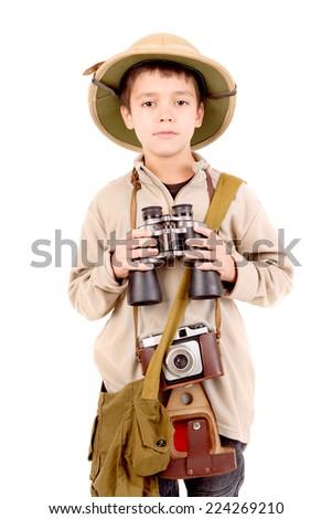 little explorer boy on safari isolated in white - stock photo