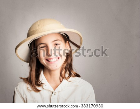 little explorer on a gray background - stock photo