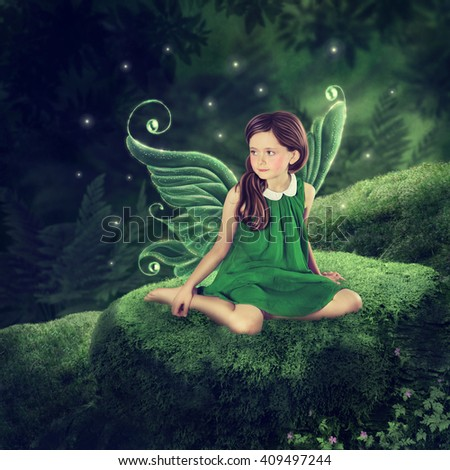 Little fairy girl sitting in the forest - stock photo