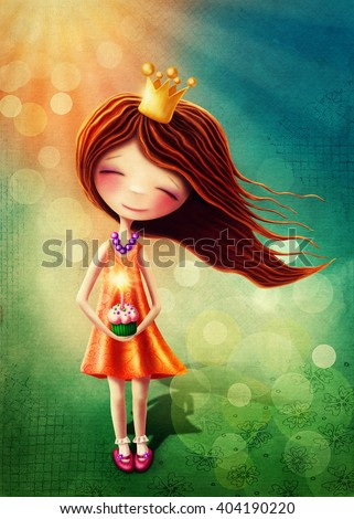 Little fairy girl with birthday cup cake - stock photo