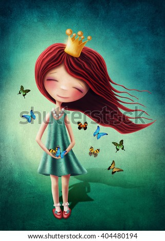 Little fairy girl with butterflies - stock photo