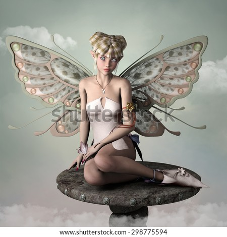 Little fairy with butterfly's wings sits on a pedestal - stock photo