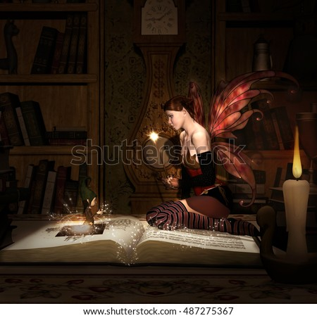 Little fairy with magic wand sits on an open book - 3D illustration