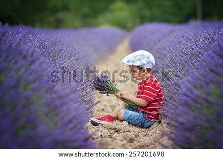 Little fashionable boy having fun in lavender field in the summer - stock photo