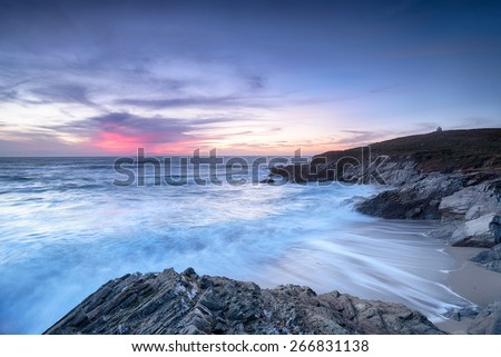 Little Fistral, a small cove off the main Fistral Beach under the Towan Headland at Newquay in Cornwall - stock photo